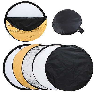 """5 in 1 Photography Studio Multi Photo Disc Collapsible Light Reflector 110cm 43"""""""