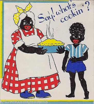 AUNT JEMIMA MAMMY & BOY VINTAGE MUSIC BLACK AMERICANA GRAPHIC ART BIRTHDAY CARD