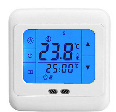 Programmable LCD Touch Screen Underfloor Room Heating Thermostat Blue Backlight