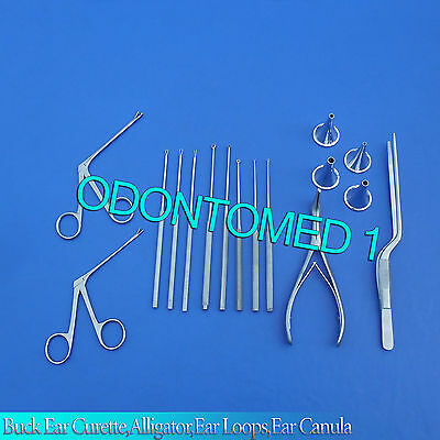 16-Pcs Buck Ear Curette,Alligator,Ear Loops,Ear Canula Surgical Nasal ENT Inst