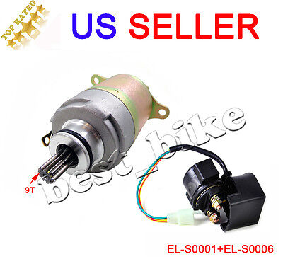 GY6 Starter Motor and Relay 150 150CC 157QMI 157QMJ Moped ATV GoKart Scooter New
