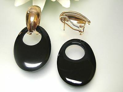 Vintage gold plated oval french clip-on /nature black agate oval charm drop ER