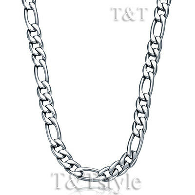 T&T 7mm 316L Stainless Steel Figaro 3+1 Chain Necklace Silver 76cm (C77)
