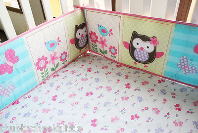 Baby Crib Cot Bassinette Bumper Pad Padded & Quilted Full Surround Girl
