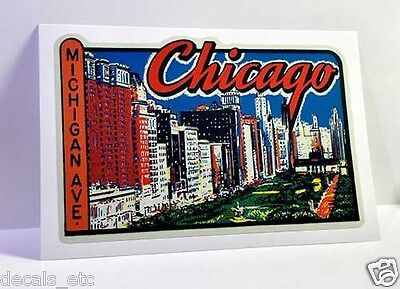 Chicago Michigan Ave Vintage Style Travel Decal / Vinyl Sticker, Luggage Label