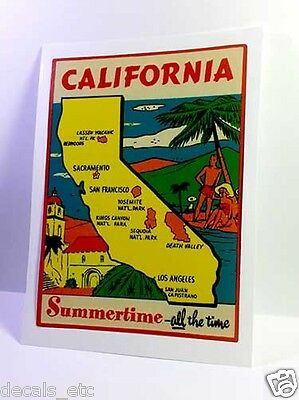 California Summertime Vintage Style Travel Decal / Vinyl Sticker, Luggage Label