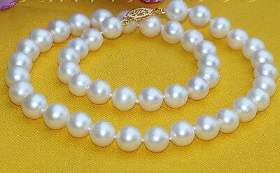 Beautiful 10mm White South Sea Shell Pearl Necklace 18'' A++++