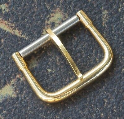 Vintage yellow gold-plated watch buckle 10mm opening 1950s/60s rounded style NOS