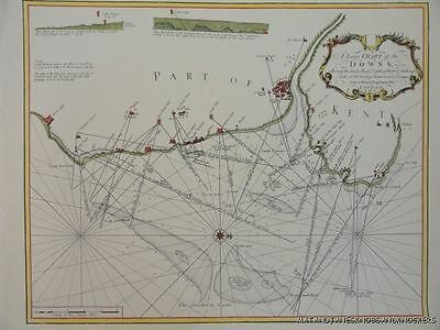 Old Copy Of Map 1700's Dover Deal Kingsdown Downs Goodwin Sands