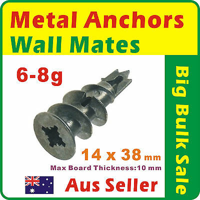 500 x 14mmx38mm Metal Anchors Plasterboard Wall Mates For Hollow Wall Zinc Alloy