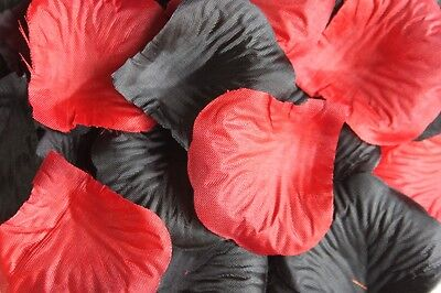100 x RED AND BLACK SILK ROSE PETALS HALLOWEEN CONFETTI TABLE DECORATION