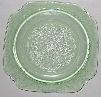 Green Depression Madrid Vaseline Glass Square 9X9 Plate