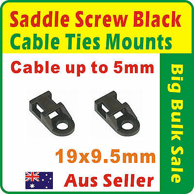 100 x Black Saddle screw Cable Tie Mounts 19x9.5mm Cable Up to 5mm Aus Seller