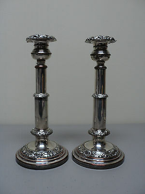 PAIR ENGLISH 19th C. OLD SHEFFIELD PLATE (OSP) SILVER PLATE CANDLE HOLDERS