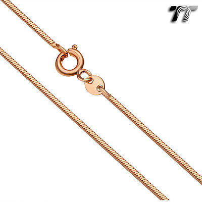 TT 1.0mm 9K Rose Gold Filled Sqiare Snake Chain Necklace 60cm (CF115)