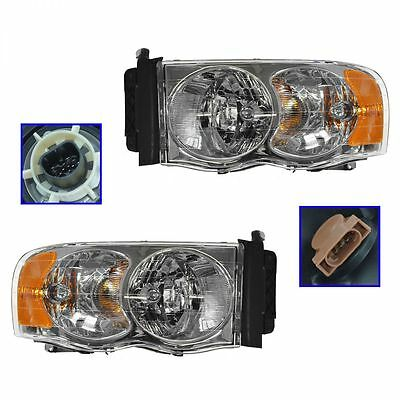 Headlights Headlamps Left & Right Pair Set NEW for Dodge Ram Pickup Truck