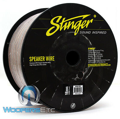 Stinger Spw518C Clear 18 Awg Gauge 1000 Feet Premium Ofc Copper Speaker Wire New