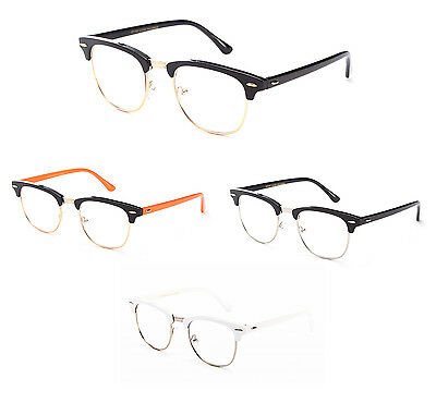 Clear Lens Hip RX Possible clubmaster Metal & Polymer Glasses Black White Retro
