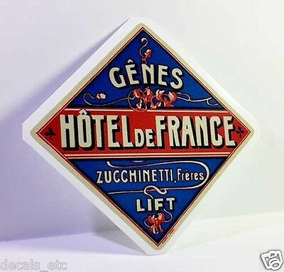 Hotel de France Vintage Style Travel Decal / Vinyl Sticker, Luggage Label
