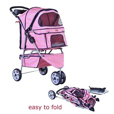 New BestPet Pink Grid Fashion 3 Wheels Pet Dog Cat Stroller w/RainCover