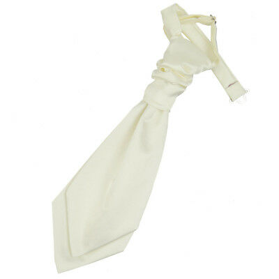 DQT Satin Plain Solid Ivory Formal Wedding Pre-Tied Boys Cravat Free Pin