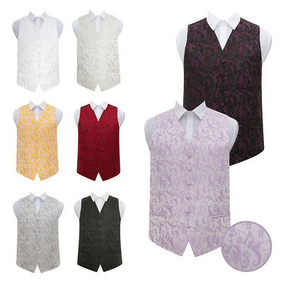 DQT Premium Jacquard Passion Floral Suit Vest Wedding Men's / Boys Waistcoat