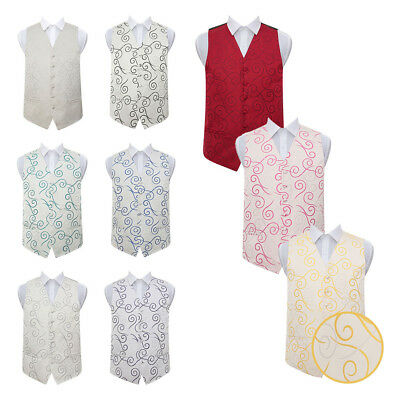 "DQT Premium Woven Jacquard Scroll Men's / Boy's Wedding Waistcoat Vest 22""-50"""