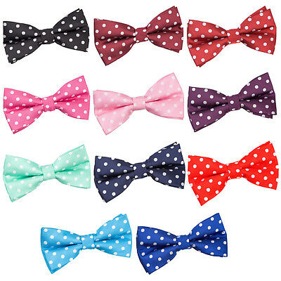Mens Bow Tie Woven Polka Dot Casual Formal Classic Adjustable Pretied by DQT