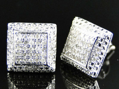 Mens Ladies 10K White Gold 9 MM Diamond Pave Puffed Square Stud Earrings 0.40 Ct
