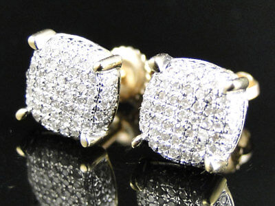 Mens Ladies 10K Yellow Gold Diamond Pave Circle Round Dome Stud Earrings 0.50 Ct
