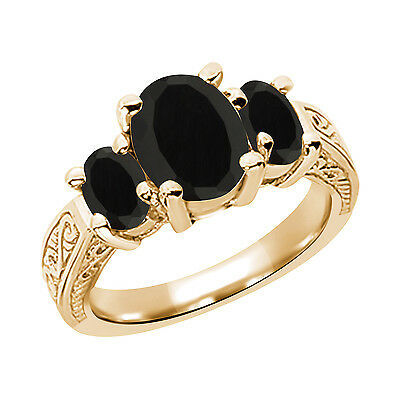 2.41 Ct Oval Black AAA Onyx 925 Yellow Gold Plated Silver 3-Stone Women's Ring