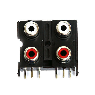 5pc RCA Jack x4 Female Connector Set Vertical PCB pin Com Ground ABS Housing