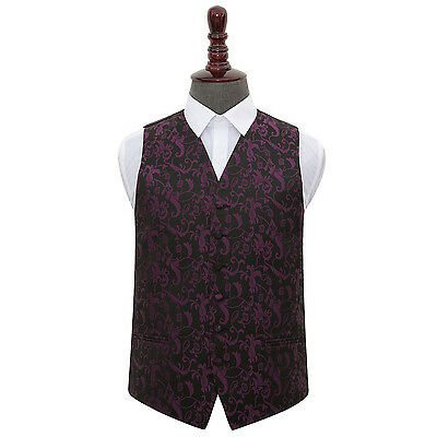 DQT Woven Floral Black & Purple Formal Tuxedo Mens Wedding Waistcoat S-5XL