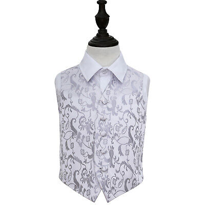 DQT Woven Floral Silver Page Boys Wedding Waistcoat 2-14 Years