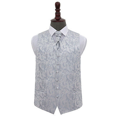 New Dqt Passion Mens Wedding Waistcoat & Cravat Set - Silver