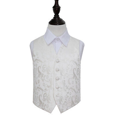 DQT Woven Floral Ivory Page Boys Wedding Waistcoat 2-14 Years