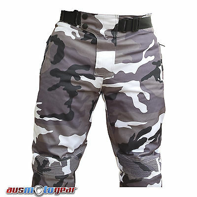 Cordura Motorbike CAMO Textile Pants Cargo 100% Waterproof CE Approved