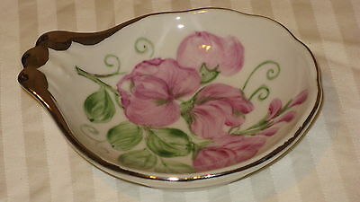 "Vtg 1955 Shenango China Floral Pattern Hand Painted LMR 5"" Candy Dish"