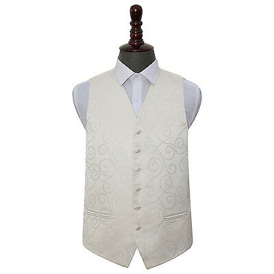 DQT Woven Scroll Patterned Ivory Formal Mens Wedding Waistcoat S-5XL