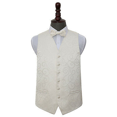 New Dqt Scroll Mens Wedding Waistcoat & Bow Tie Set - Ivory