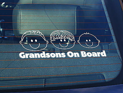 Static Cling Window Car Sign/Decal 3 Grandsons on Board 100mm x 250mm
