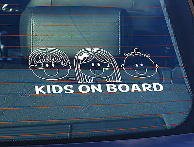 Static Cling Window Car Sign/Decal Kids on Board Boy,Girl, Baby Girl 100 x 250mm