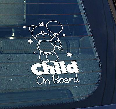 Static Cling Window Car Sign/Decal Child on Board 150 x 100mm Teddy & Balloon