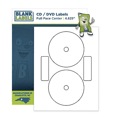 50 CD / DVD Laser and Ink Jet Labels Neato Compatible Full Core Face!  25 Sheets