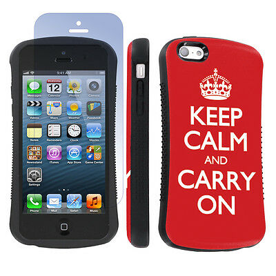 Apple iPhone 5c Shock Absorb Grip Case +Screen Prot- Red Keep Calm And Carry On