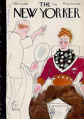 Rare Vintage 1938 Rea Irving New Yorker Art COVER ONLY Cowboy Actor Makeup