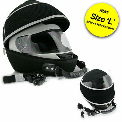 Deluxe Padded Motorycle Helmet Carrier Holder Bag Hard Case With Visor Holder