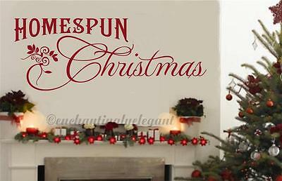 Homespun Christmas Home Decor Vinyl Wall Art Decal Sticker Lettering Words Quote