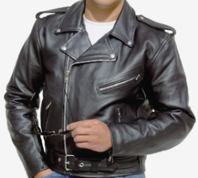 MENS LEATHER MOTORCYCLE BRANDO JACKET 4XL  NEW!  Road Motorbike Classic Road