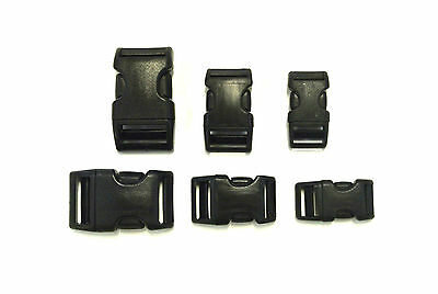 16mm 20mm 25mm Black Plastic Curved Side-Release Wienerlock Buckles x2 x5 x10